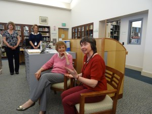 Emma Kaliterna, seated on left, with Librarian Mary Hanel, on right