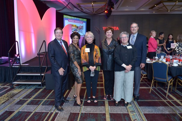 Jim Lentz (Toyota, CEO of Toyota Motor North America); Sonia Manzano (Maria from Sesame Street); Jean Fahey (Toyota Family Teacher of the Year, South Shore Hospital); Sharon Darling (NCFL President/Founder); Ellin Klor; Mike Goss (Toyota, VP External Affairs & Communications)