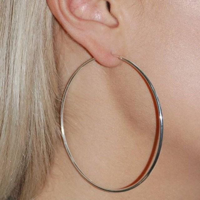 Large 7cm Silver Hoop
