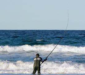 A Man Surf Casting/Fishing
