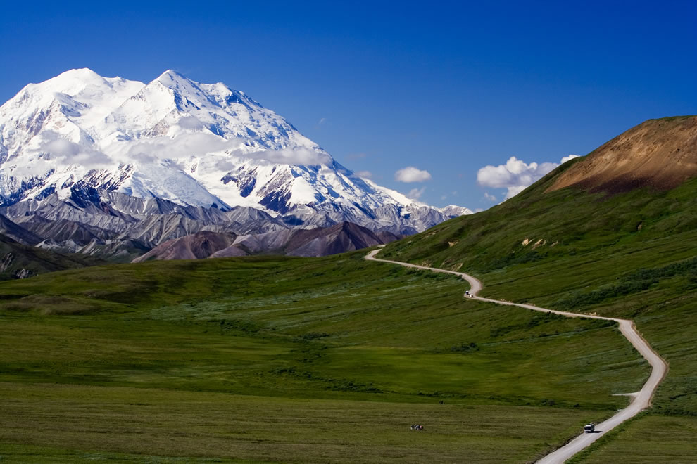 Down the valley towards Denali on this beautiful day, with the one park road winding its way