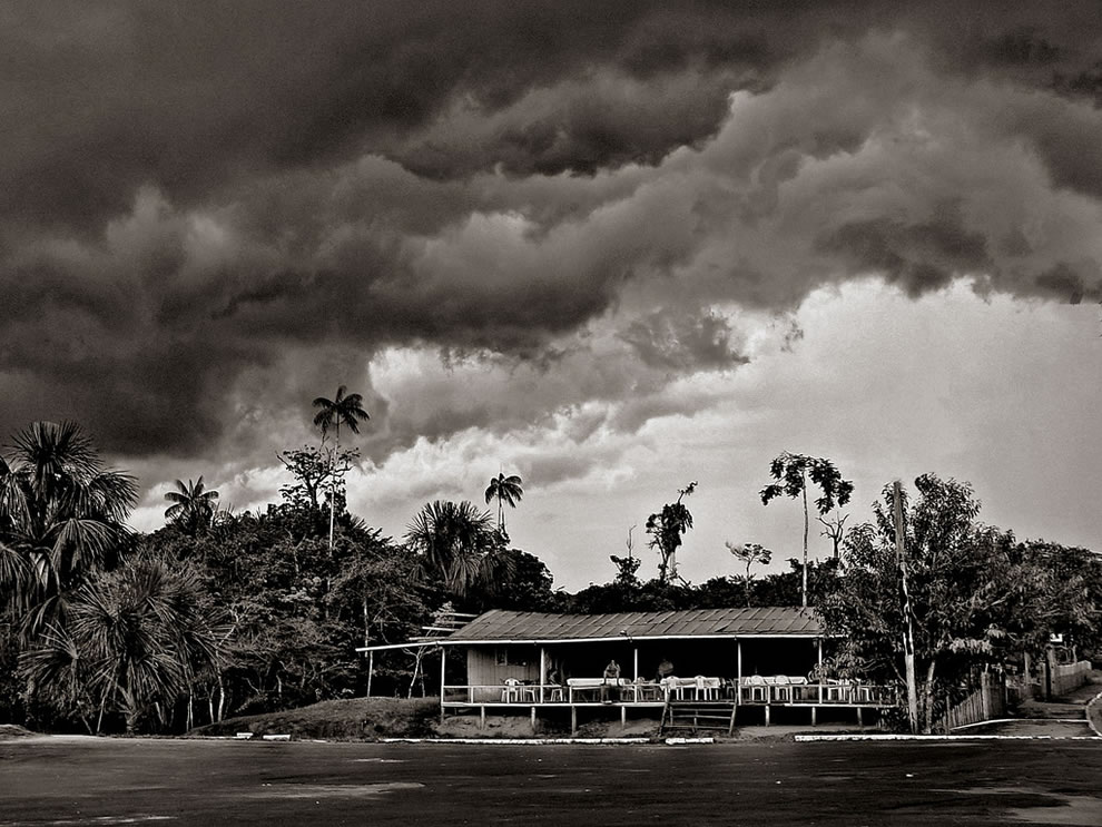 Stormy clouds cover the Amazonian jungle