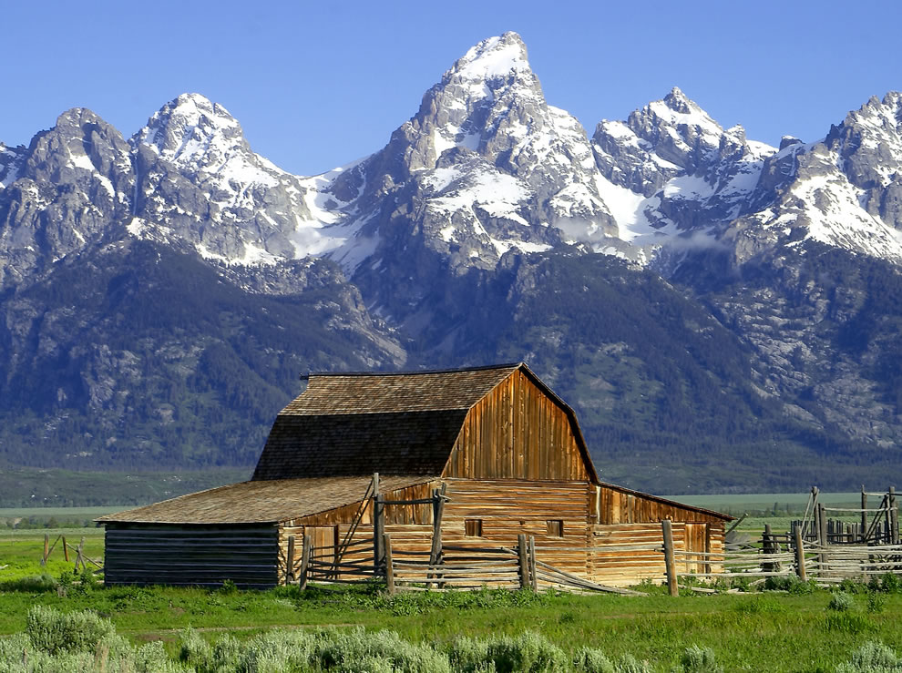 Grand Tetons National Park -- The John Moulton Barn on Mormon Row at the base of the Tetons
