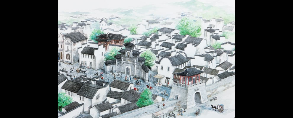 Restoration picture of Shicheng city in east China's Zhejiang Province, the drowned Lion City since 1959