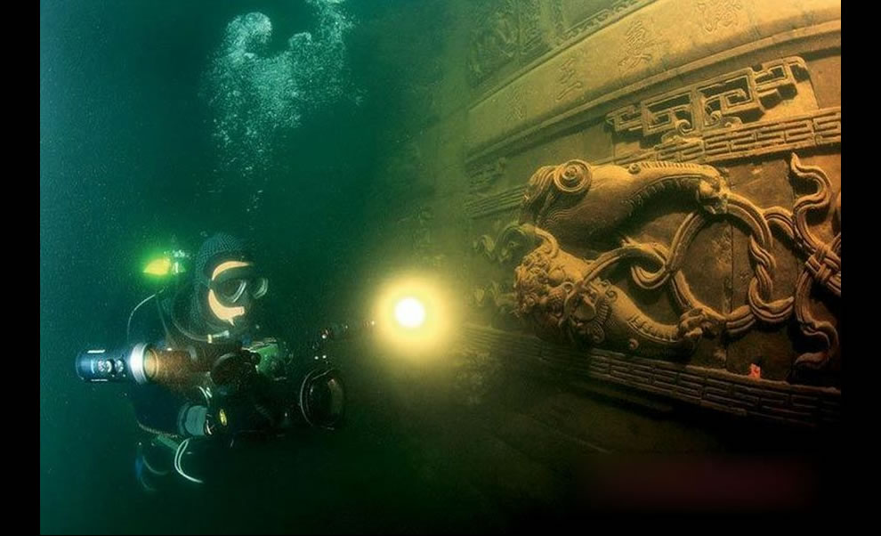 Underwater film crew explored Qiandao Lake and the ancient Lion City that was sunk half a century ago to build the Xinâ -- an Jiang hydropower station