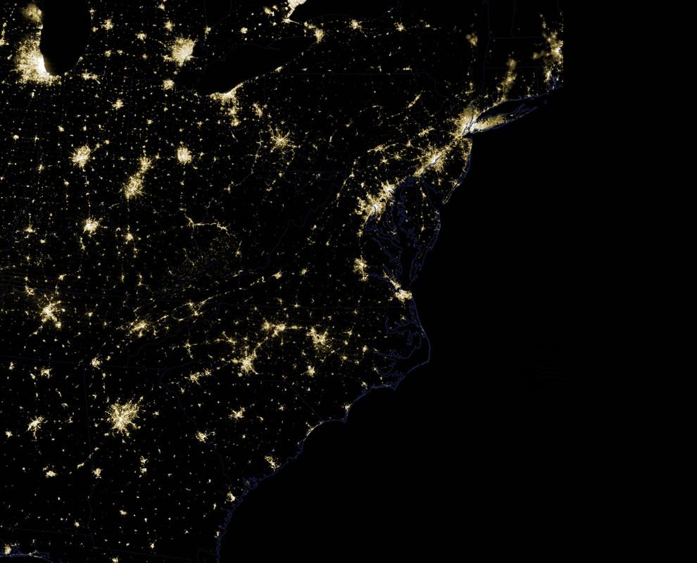 USA East Coast lights on Friday, June 29th, 2012