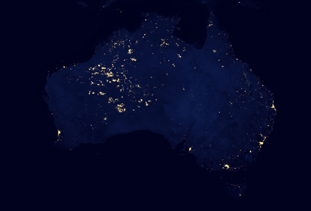 Why is unihabited western Australia so bright in the dark