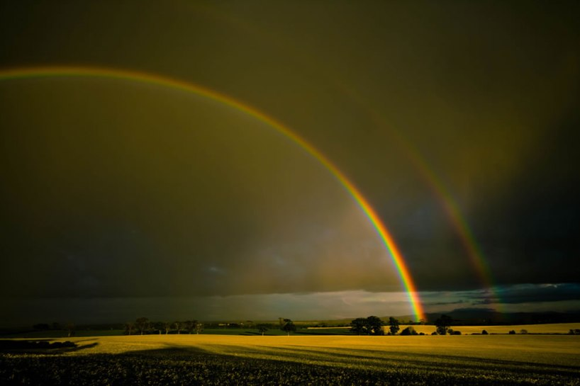 Double rainbow over the Merse, Scotland ,   best rainbows in the world!