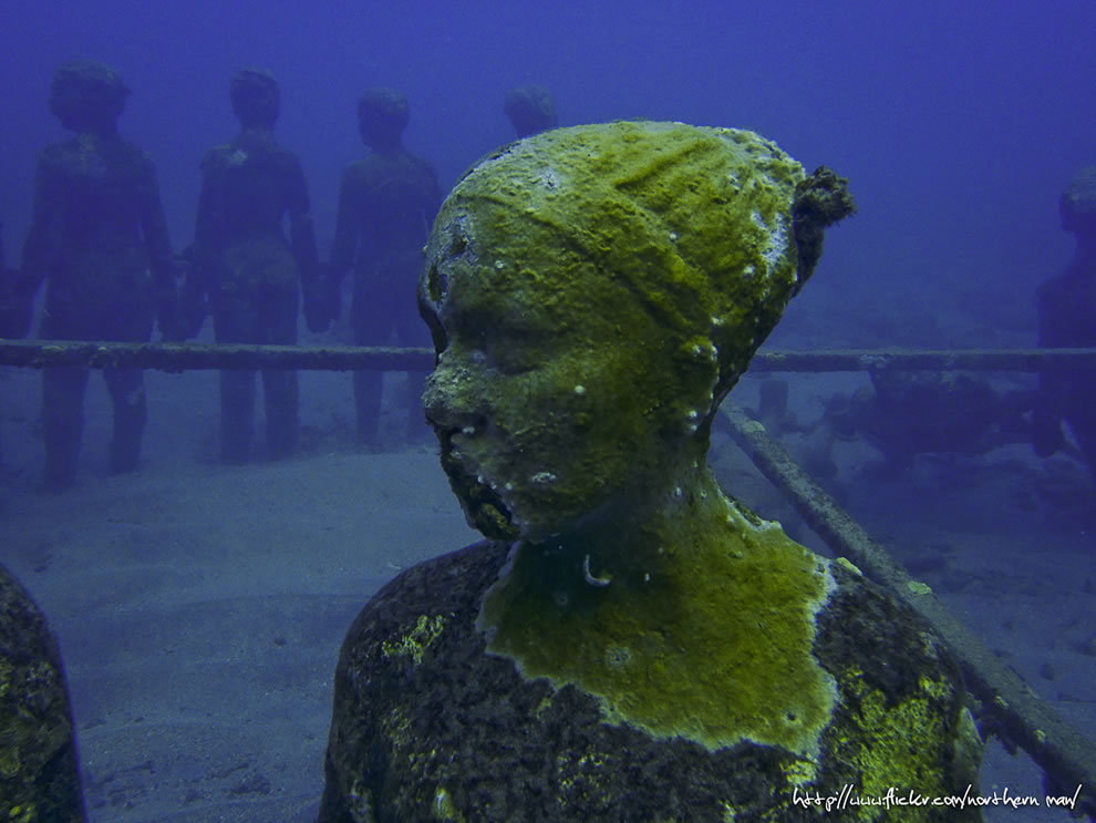Underwater statue in Grenada as seen in February 2013