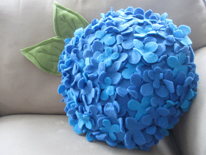 Homemade Felt Hydrangea Pillow Pictures, Photos, and
