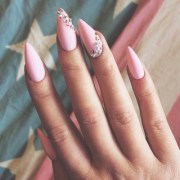 pink stiletto rhinestone nails