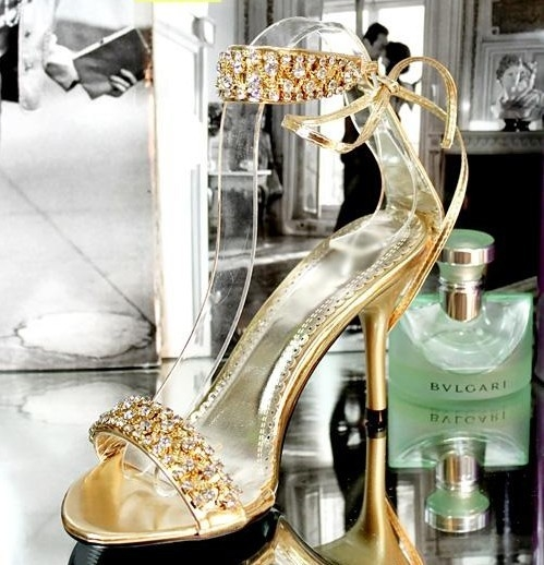 Stunning Rhinestone Gold High Heel Sandals Pictures Photos And Images For Facebook Tumblr