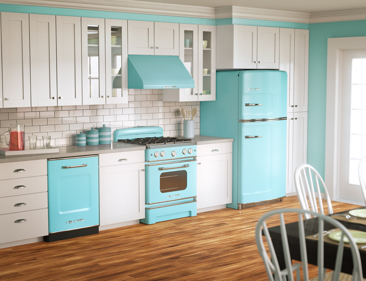 Kitchen With Retro Blue Appliances Pictures Photos and