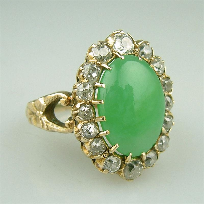 Antique Gold Diamond Jade Ring Pictures Photos and