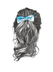 sketch of long hair with bow