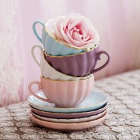Pastel Teacups & Pink Rose Pictures, Photos, and Images