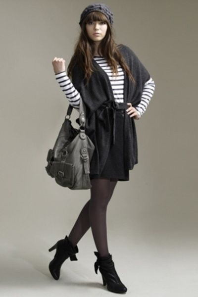 Cardigan With Short Skirt Short Boots Striped Top And Beanie Pictures Photos and Images for