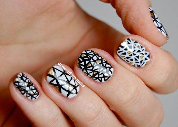 Black And White Triangle Nail Art