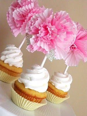 DIY Cupcake Flower Toppers For Girls Baby Shower Pictures