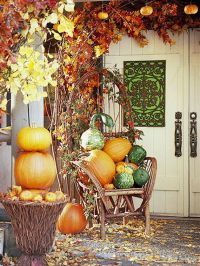 Nicely Fall Decorated Front Porch Pictures, Photos, and