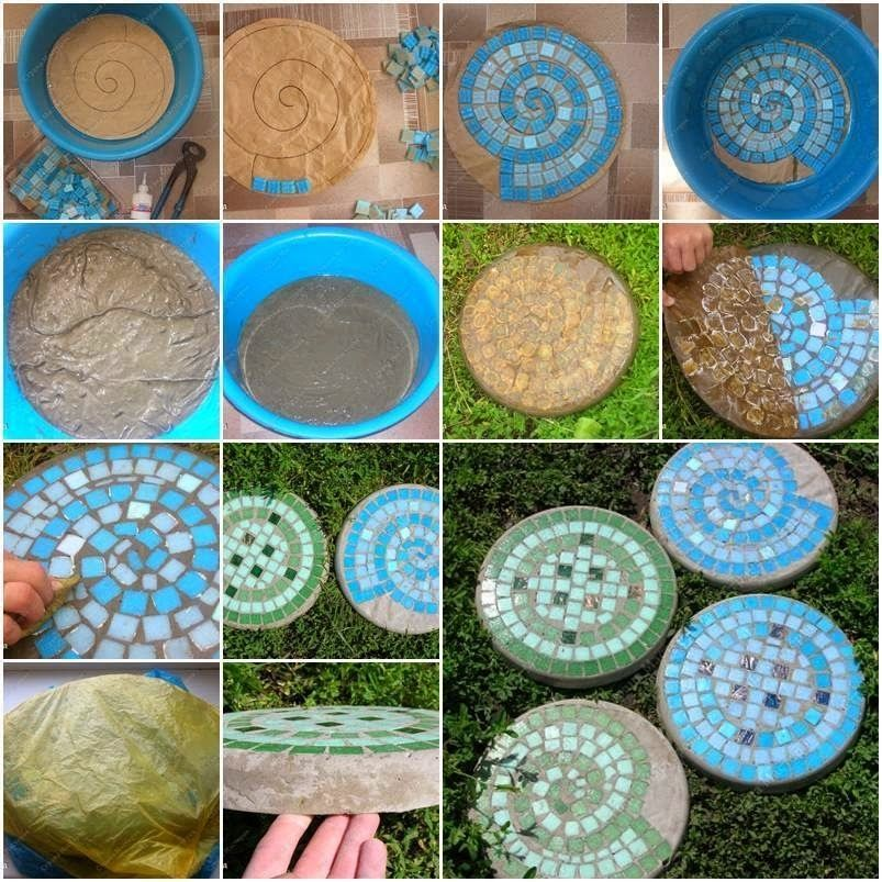 DIY Mosaic Stepping Stones For The Garden Pictures Photos And