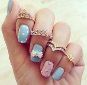 adorable pink & blue nail art