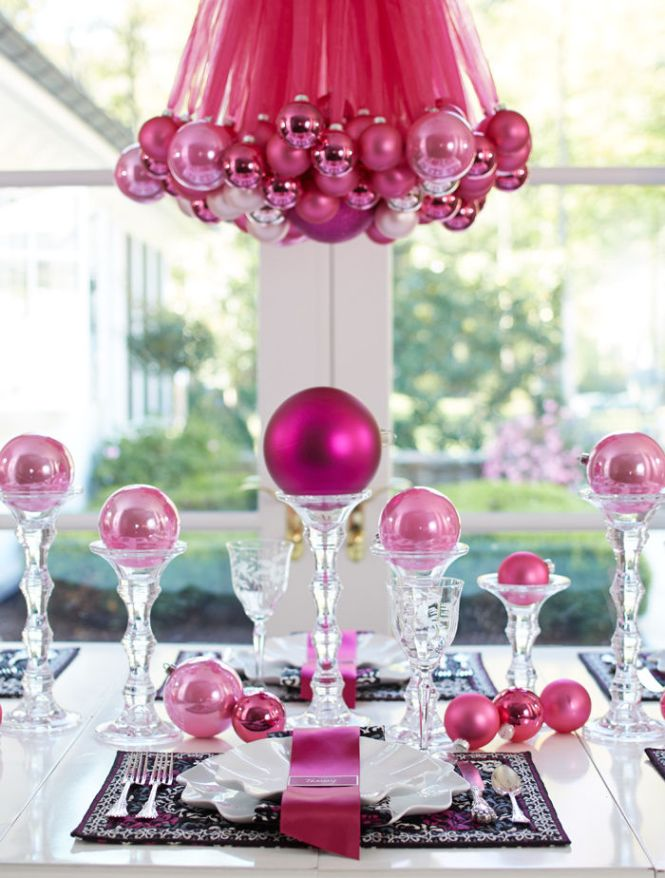 Christmas Ornament Table And Chandelier