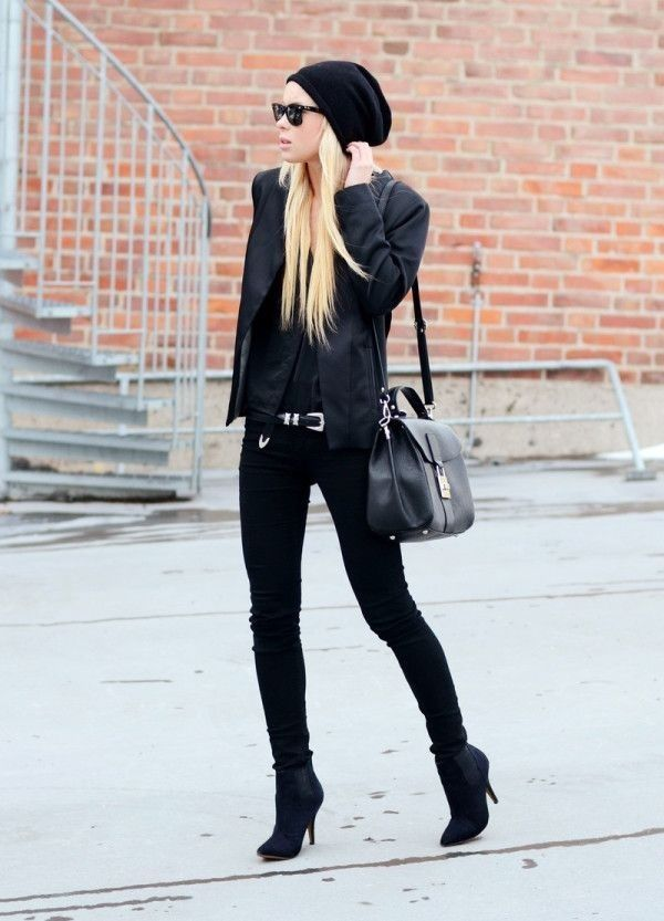 black winter outfit pictures