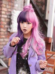 2-tone pink & purple hair