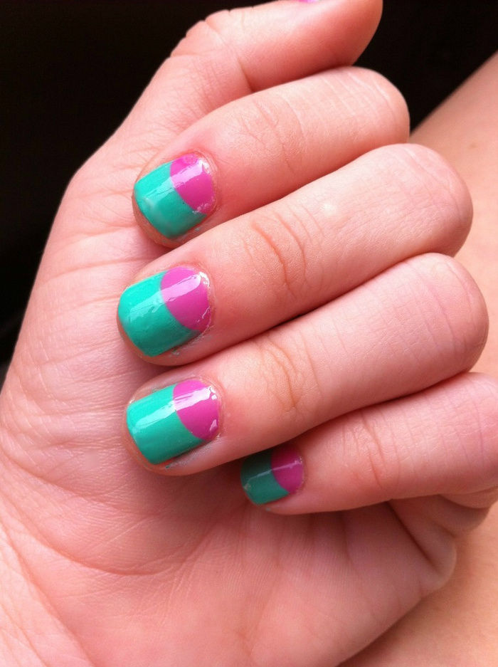 moon pink and teal nails