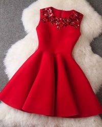 Red Sequined Sleeveless Designer Dress Pictures, Photos ...
