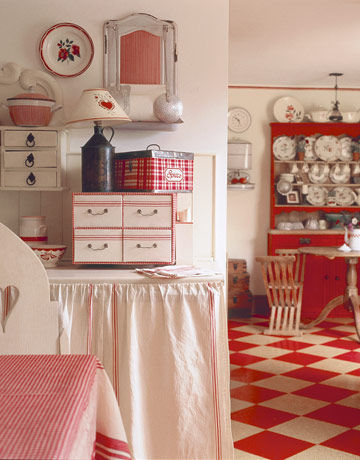 red and white vintage kitchen Red & White Vintage Kitchen Pictures, Photos, and Images