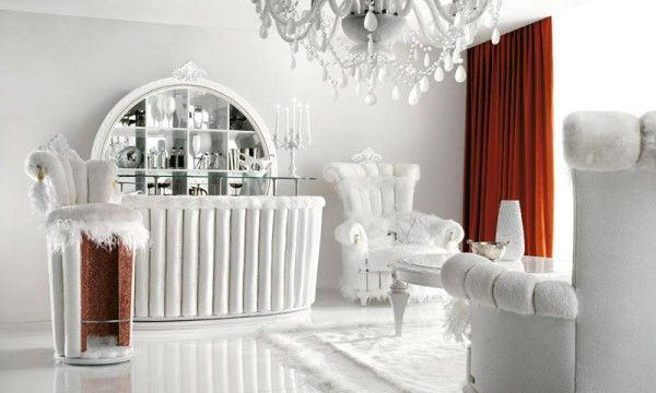 Luxurious All White InHome Cocktail Bar Pictures Photos