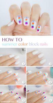 summer block nails tutorial