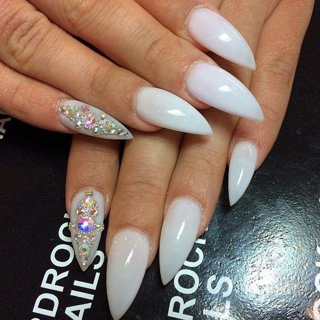 white stiletto nails