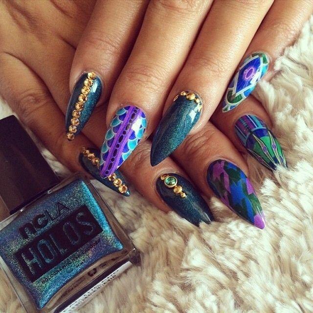 blue and purple stiletto nails