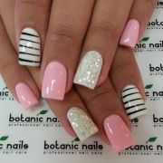 black white and pink nails