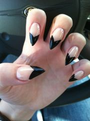 clear and black stiletto nails