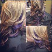 curly blonde hair with purple peek