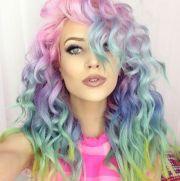 wavy rainbow hair