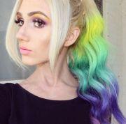 toned rainbow hair