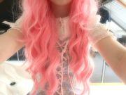 wavy messy pink hair