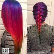 rainbow hair straight and braided