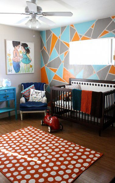 Colorful Nursery With Geometric Accent Wall Pictures