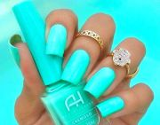 neon teal nails
