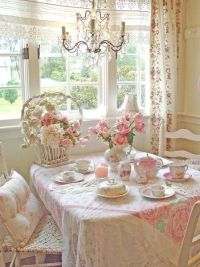 Pretty Pink Shabby Chic Dining Area Pictures, Photos, and