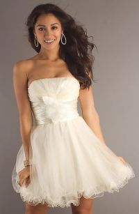 Cute Short Strapless White Dress Pictures, Photos, and ...