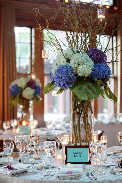 Blue Hydrangea And Curly Willow Centerpieces Pictures