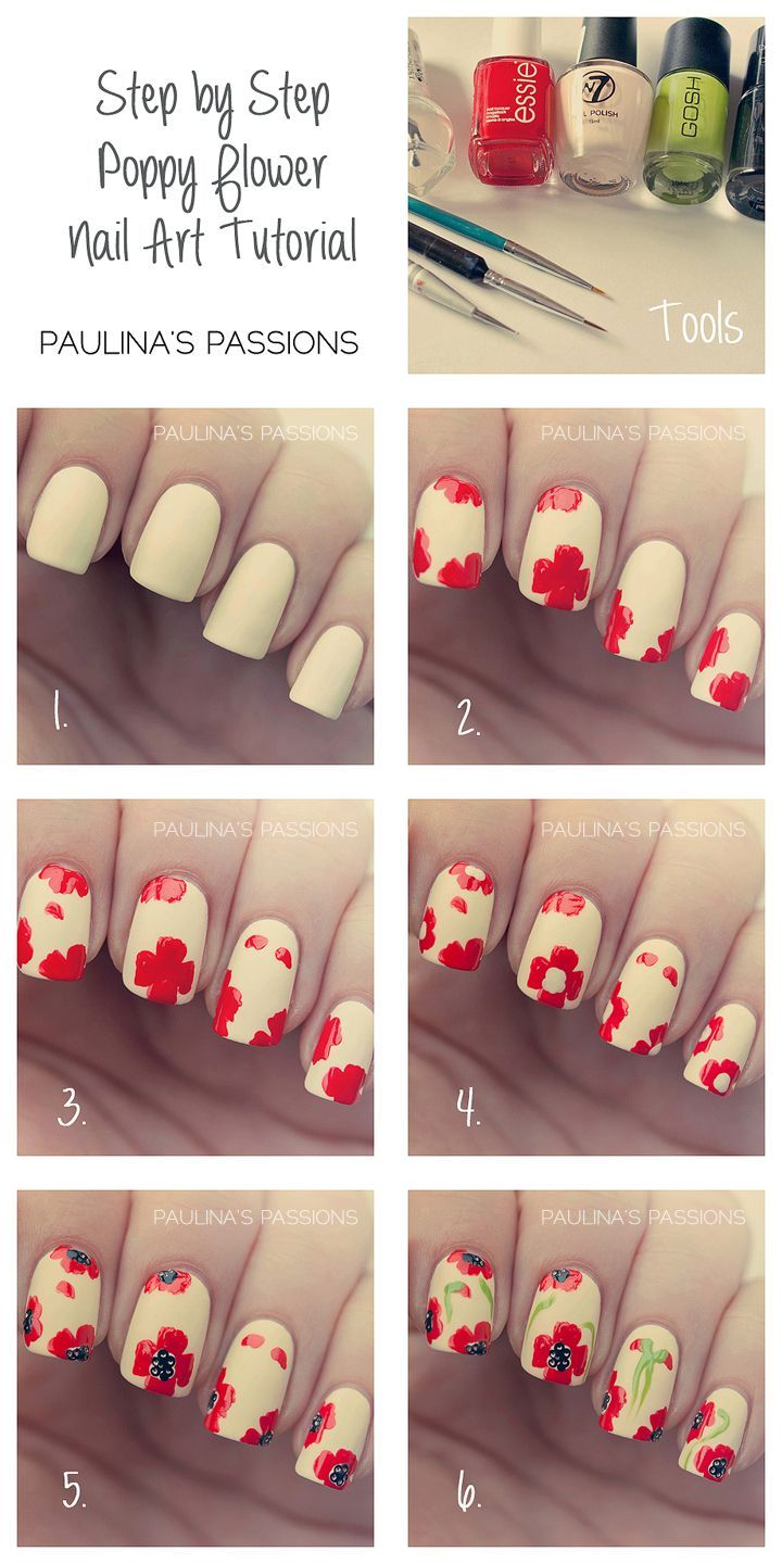 Step By Poppy Flower Nail Art Tutorial Pictures Photos And Images For Facebook Twitter
