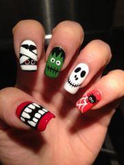halloween monster combo nails
